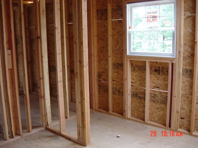 Our master bathroom framed out