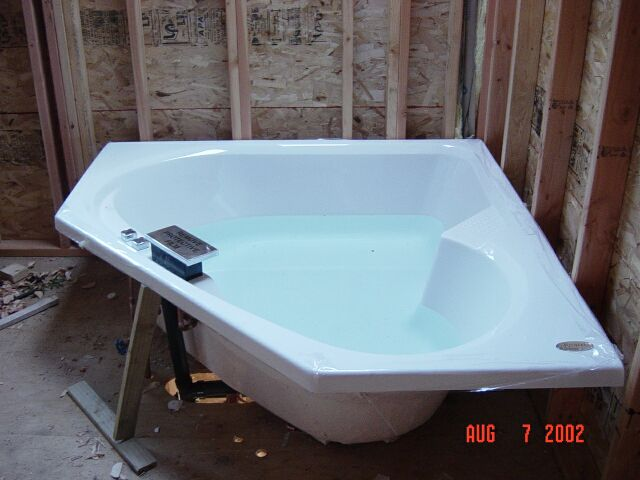 Our relaxing tub in our master bathroom