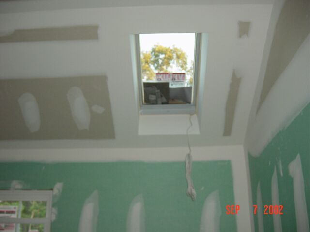 The remote control skylight in our Master Bathroom after being sheetrocked